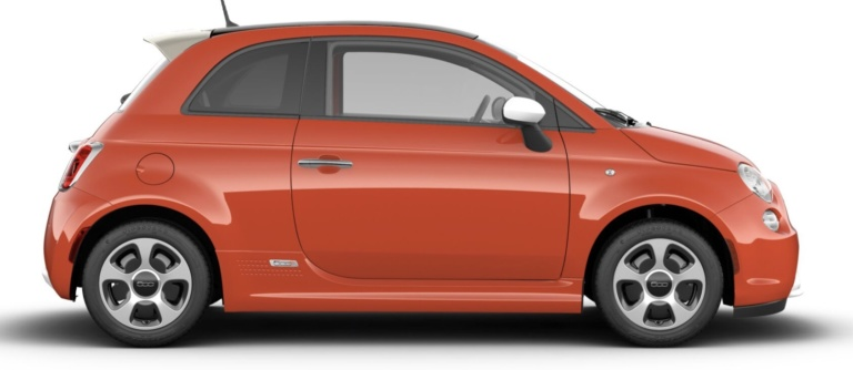 Side-view of 2019 Fiat 500e electric vehicle in color luminosa orange against a white background.