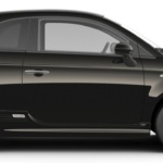 Side-view of 2019 Fiat 500e electric car in vesuvio black color against a white background.