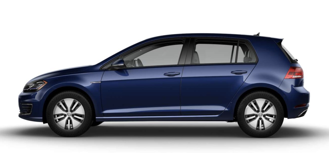 Side-view of Volkswagen 2019 e-Golf electric car in atlantic blue metallic color against a white background.