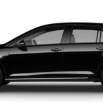 Side-view of Volkswagen 2019 e-Golf electric car in deep black pearl color against a white background.