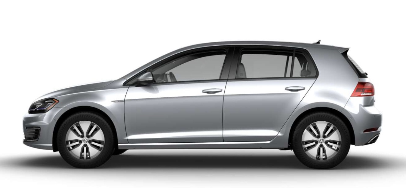 Side-view of Volkswagen 2019 e-Golf electric car in metallic silver color against a white background.
