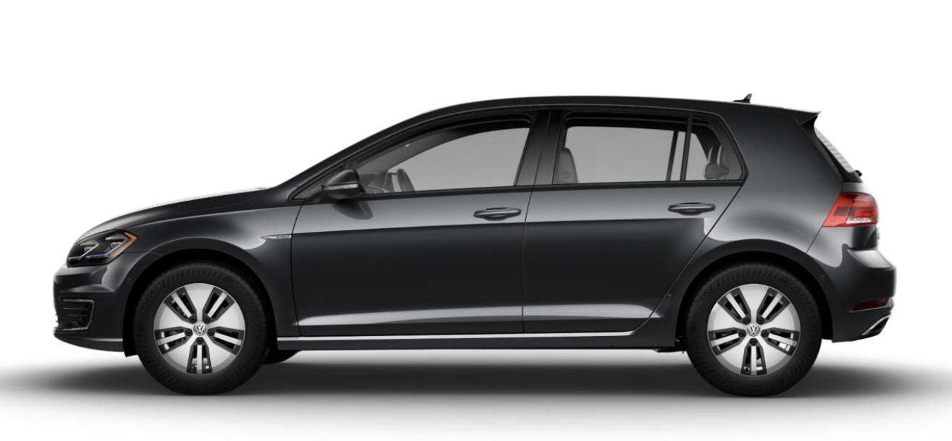 Side-view of Volkswagen 2019 e-Golf electric car in charcoal gray color against a white background.