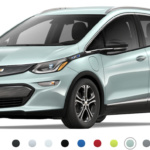 Front-angled view of 2019 Chevy Bolt electric car in green mist metallic finish against a white background.