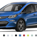 Front-angled view of 2019 Chevy Bolt electric car in kinetic blue metallic finish against a white background.