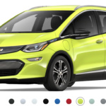 Front-angled view of 2019 Chevy Bolt electric car in shock color against a white background.