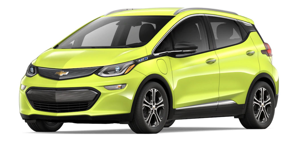 Front-angled view of Chevy Bolt 2019 electric car in shock color against a white background.
