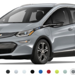 Front-angled view of 2019 Chevy Bolt electric car in slate grey metallic finish against a white background.