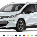 Front-angled view of 2019 Chevy Bolt electric car in summit white color against a white background.