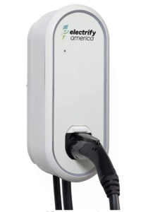 Plug-in or hardwire Level 2 electric vehicle 32 Amp Home Charger by Electrify America against a white background.