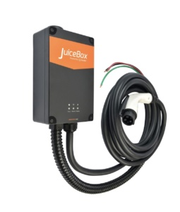 Hardwired Level 2 electric vehicle charger Pro 32 by JuiceBox against white background.
