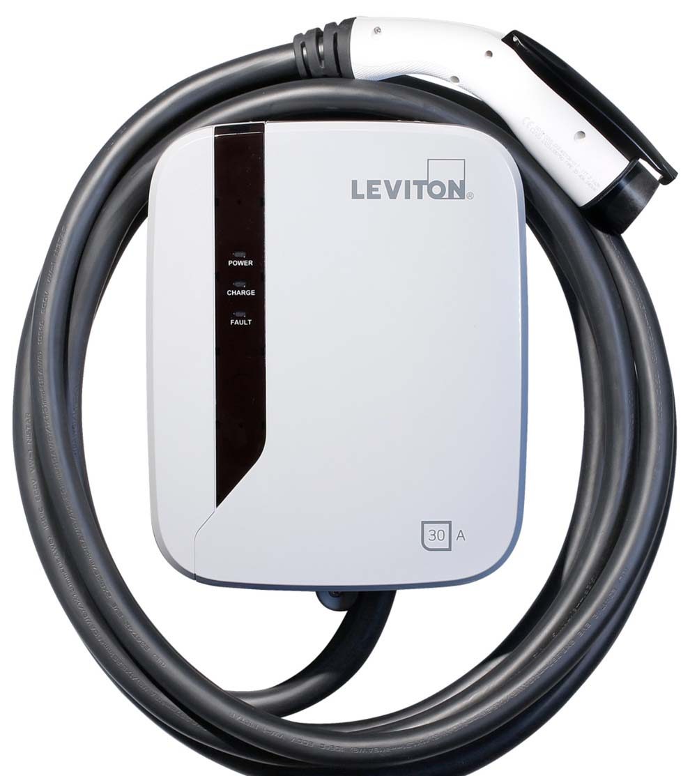 Hardwired electric vehicle charger EVR30 B18 by Levington against a white background.