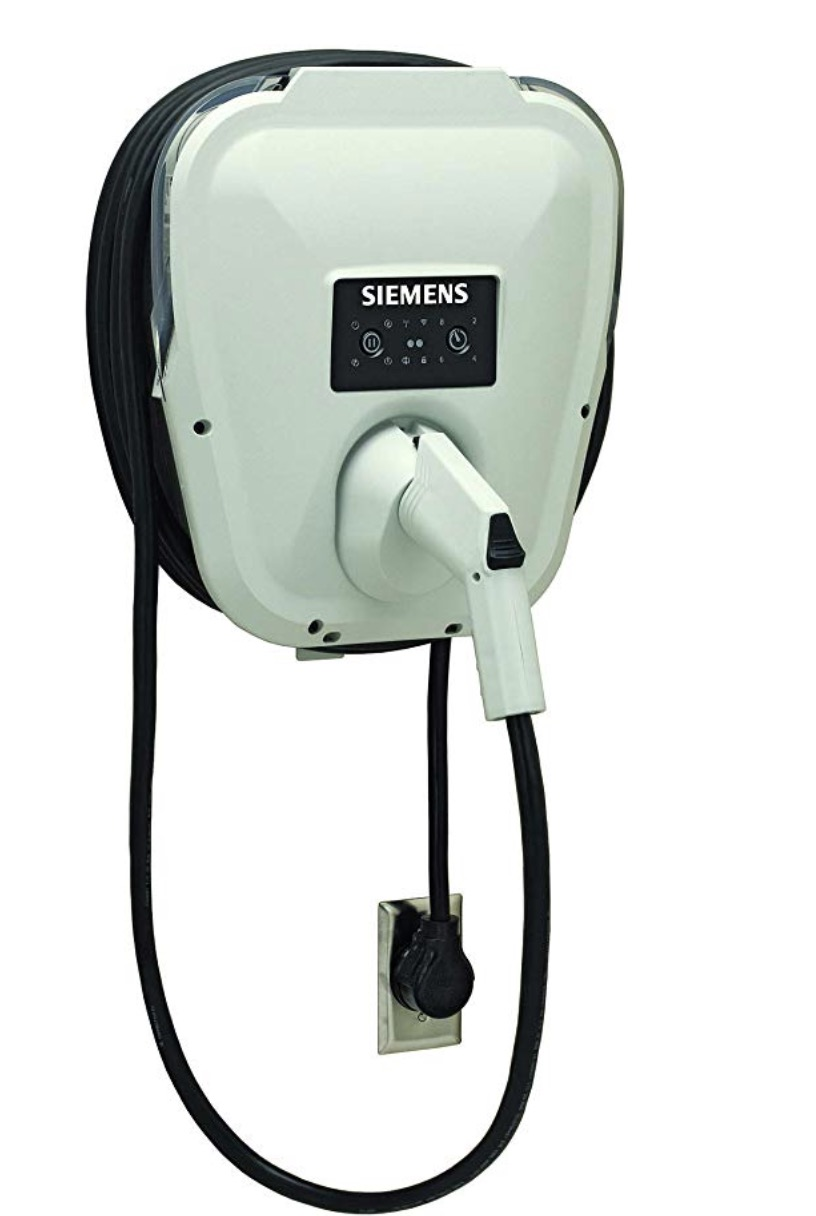 Plug in electric vehicle charger US2 VersiCharge 30 Amp by Seimens on white background.