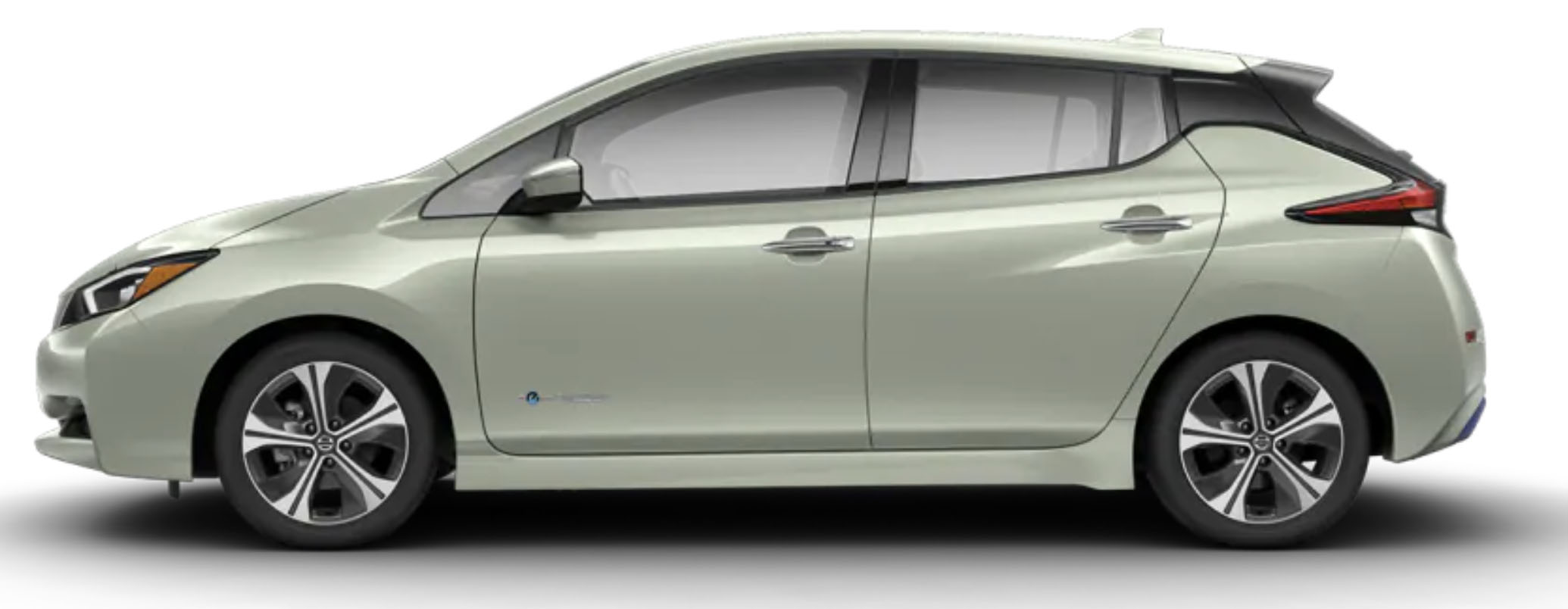 Side-view of 2019 Nissan Leaf electric car in jade frost metallic finish against a white background.