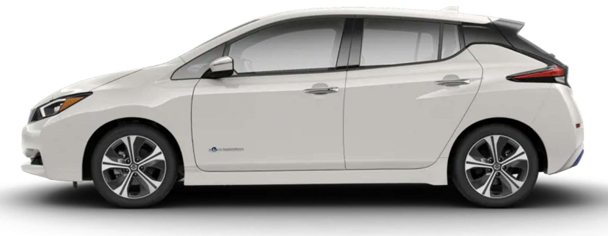 Side-view of 2019 Nissan Leaf electric car in pearl white tricoat finish against a white background.