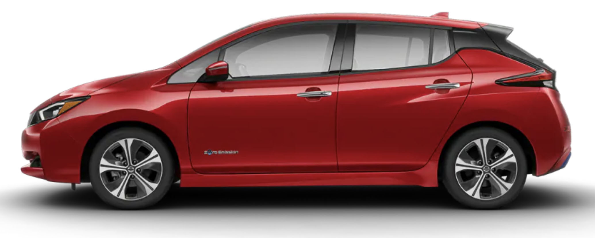 Side-view of 2019 Nissan Leaf electric car in scarlet ember tintcoat finish against a white background.