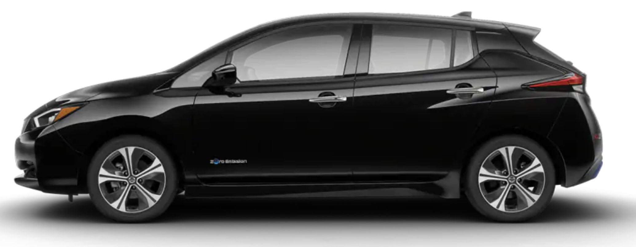 Side-view of 2019 Nissan Leaf electric car in super black color against a white background.