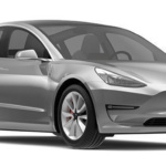 Angle-front view of Tesla 2019 Model 3 electric car in midnight silver metallic finish against a white background.