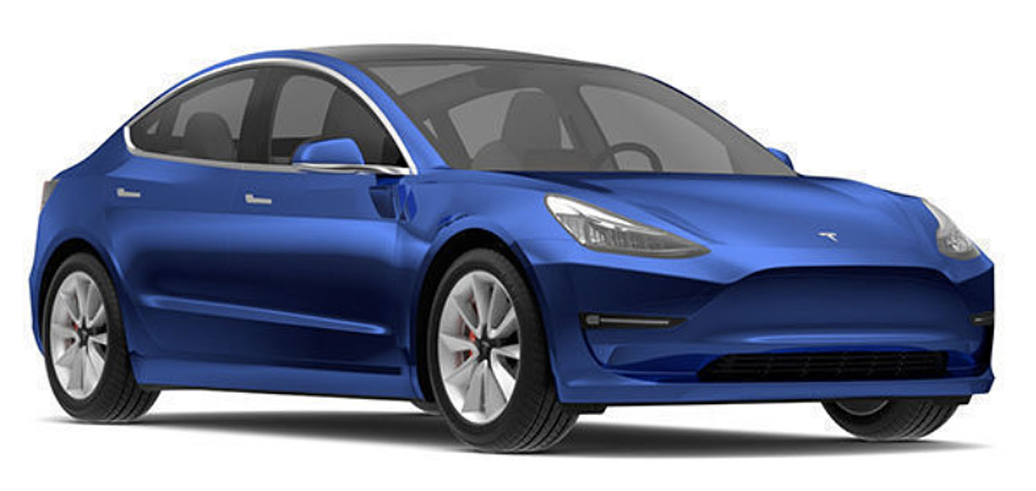 Angle-front view of Tesla 2019 Model 3 electric car in deep blue metallic color against a white background.