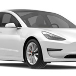 Angle-front view of Tesla 2019 Model 3 electric car in pearl white multi-coat finish against a white background.