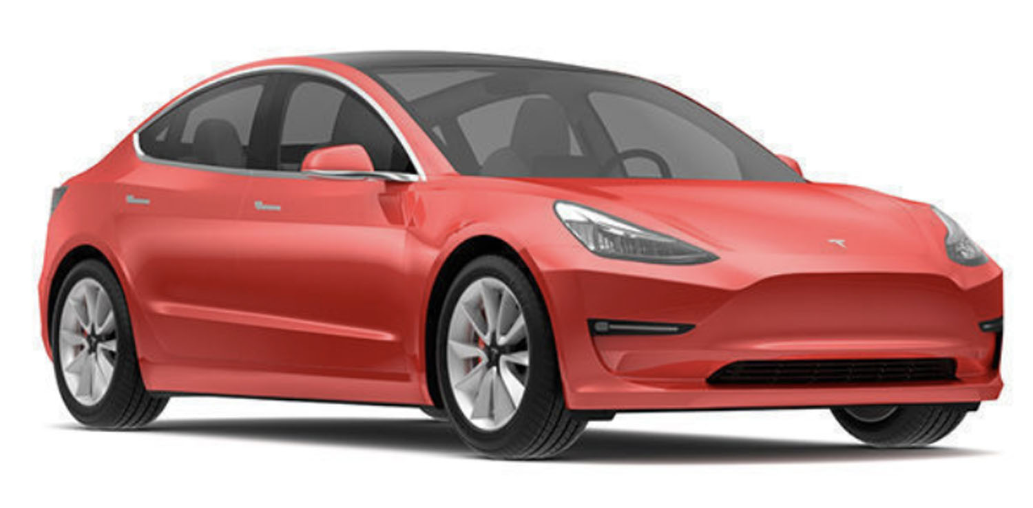 Angle-front view of Tesla 2019 Model 3 electric car in red multi-coat finish against a white background.