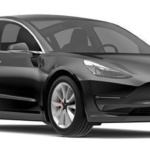 Angle-front view of Tesla 2019 Model 3 electric car in solid black color against a white background.
